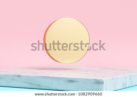 Golden Circle Icon on Pink Background . 3D Illustration of Golden Circle, Circle Thin, Circular, Round Icons on Pink Color With White Marble. #1082909660