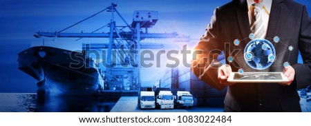 World map with logistic network distribution, Logistic and transport concept in front Industrial Container Cargo freight ship for Concept of fast or instant shipping, Online goods orders worldwide #1083022484