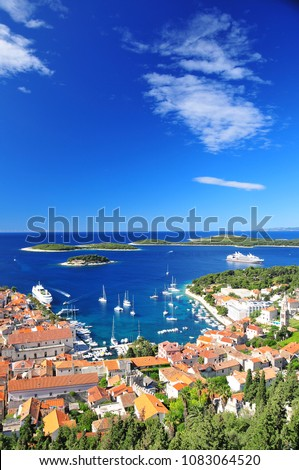 A view of Old town Hvar on Croatian island #1083064520