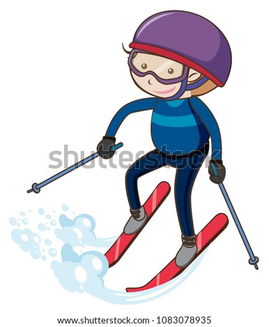 A Boy Skiing on White Background illustration