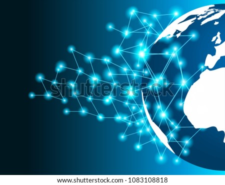 Linking entities global network connection. World map point and line composition.  networking, social media, connectivity, internet communication . blue background .light and shadow ,Vector #1083108818