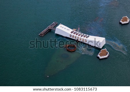 Aerial view of USS Arizona Memorial, World War II Valor In The Pacific National Monument in Pearl Harbor Honolulu Hawaii Royalty-Free Stock Photo #1083115673