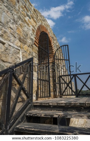 a part of fortress tower from military castle Dimum, Bulgaria #1083225380