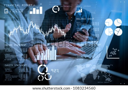 Financial report data of business operations (balance sheet and income statement and diagram) as Fintech concept.Business team meeting. Photo professional investor working new start up project. #1083234560
