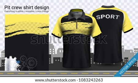 Polo t-shirt with zipper, Jersey mockup template for sports clothing and uniforms, such as soccer or football kit, racing apparel, pit crew, Everything is edible, resizable and color change.