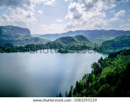 Panoramic view of Bled Island from Bled Castle in Slovenia, Europe #1083295529