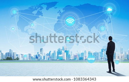 International business concept with businessman on city skyline background with network and map #1083364343