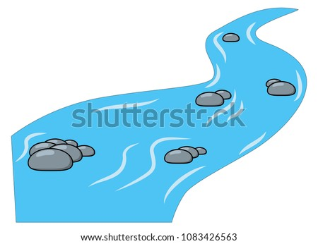 Cartoon brook, river isolated on white background Royalty-Free Stock Photo #1083426563