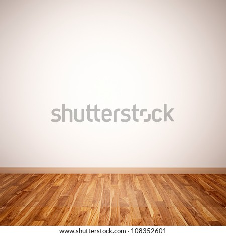 white wall and wooden floor #108352601