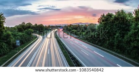 German Highway at frankfurt during sunset is beautiful #1083540842