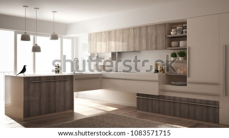 Modern minimalistic wooden kitchen with parquet floor, carpet and panoramic window, white architecture interior design, 3d illustration #1083571715