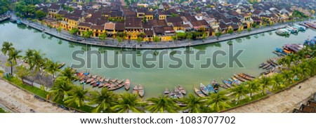 Hoi An, Vietnam : Panorama Aerial view of Hoi An ancient town, UNESCO world heritage, at Quang Nam province. Vietnam. Hoi An is one of the most popular destinations in Vietnam #1083707702