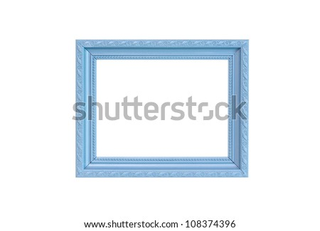 Gray Vintage picture frame, wood plated, white background, clipping path included
