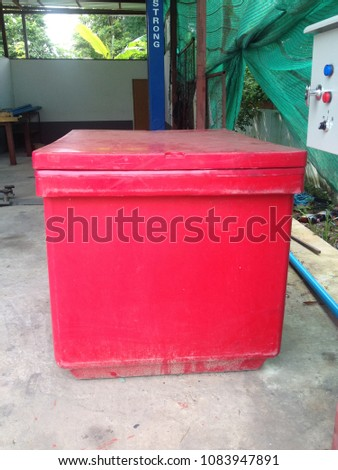 KHON KAEN, THAILAND- May 2, 2018:  Big plastic box for storage food container. #1083947891