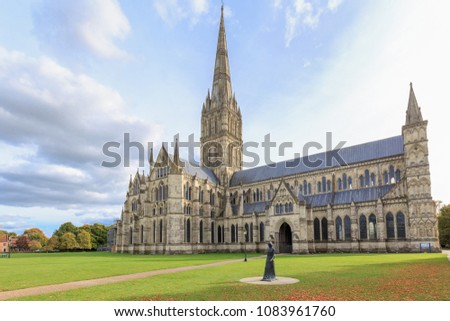 London, England - Oct 6,2017 : Salisbury Cathedral (known as the Cathedral Church of the Blessed Virgin Mary), an Anglican cathedral in Salisbury, England. #1083961760