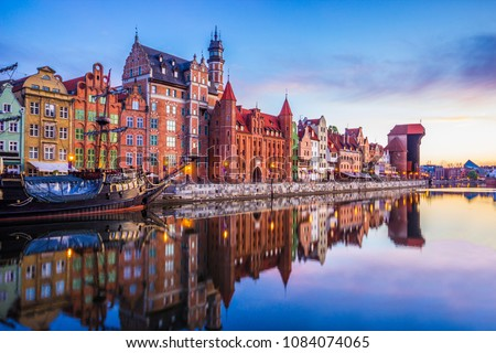 Amazing sunrise. Old town of Gdansk at Motlawa river, Poland #1084074065