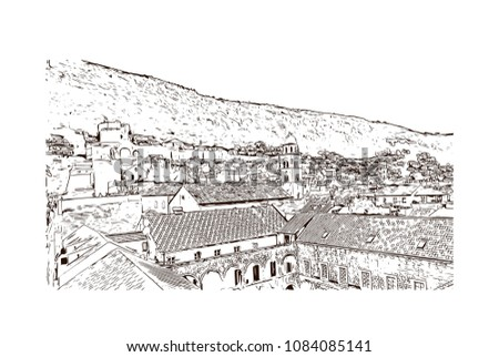 Building landmark with street view of Dubrovnik, City in Croatia. hand drawn sketch illustration in vector. #1084085141