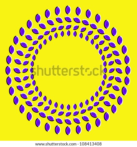 Optical illusion: rotation of circles made from dried fruits isolated on yellow background