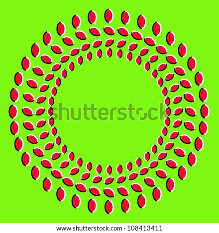 Optical illusion: rotation of circles made from dried fruits isolated on green background