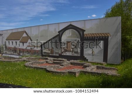 KAISERAUGST SWITZERLAND - APRIL 29, 2018: Roman Bath complex and well house in Kaiseraugst near Basel #1084152494
