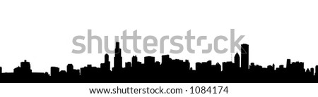 Chicago cityscape silhouette in black and white