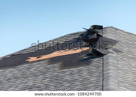 Damaged shingle roof #1084249700