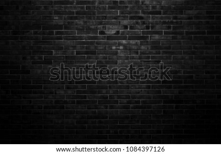 Black wall background The surface of the brick dark jagged. Abstract black wall background #1084397126