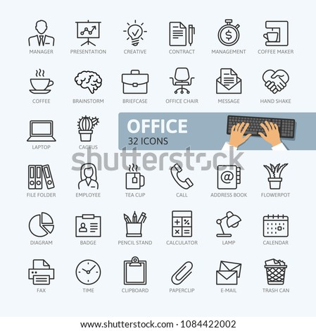 Office - minimal thin line web icon set. Outline icons collection. Simple vector illustration.