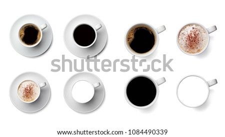 collection of various coffee cup on white background. each one is shot separately #1084490339