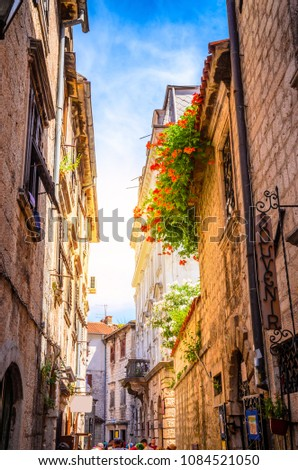 Beautiful narrow streets of old town Kotor, Montenegro. #1084521050