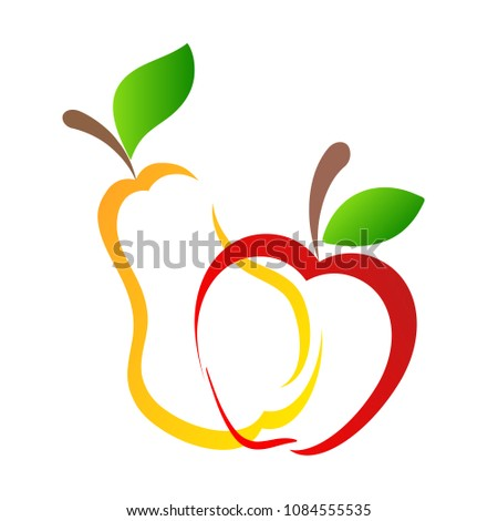 Sweet yellow pear and red apple fruits hand draw design on white, vitamin concept, stock vector illustration