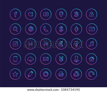 Web icons vector gradient set #1084734590