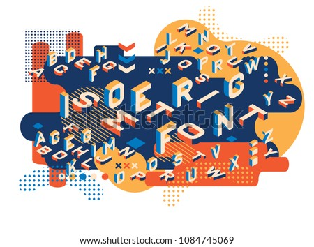 Colored letters Memphis style. Isometric letters set. Creative trend letters in isometric form. ector illustration 10 eps. #1084745069