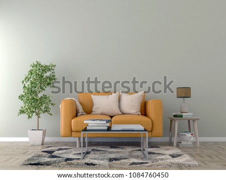 Living room interior with orange sofa, pillows, white plaid and coffee table on light wall background. 3D rendering. #1084760450