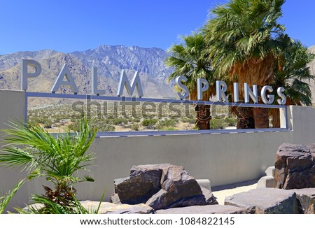 Palm Springs sign with desert background and backdrop of San Jacinto Mountain, California #1084822145