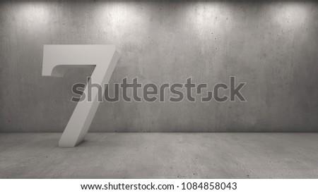 3d rendering of number in concrete room #1084858043