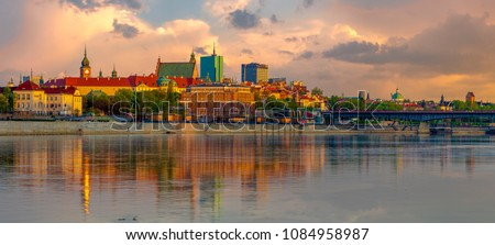 Panorama of the Old Town in Warsaw in poland #1084958987