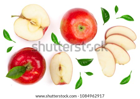 red apples with slices and leaves isolated on white background top view. Set or collection. Flat lay pattern #1084962917