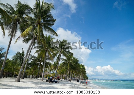Palm trees on the beach, the island of the Philippines #1085010158