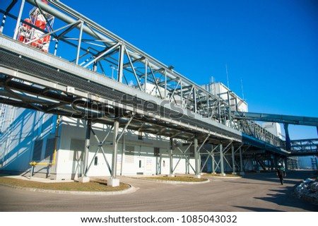 Grain processing facilit. Industrial Factory silos for food production #1085043032