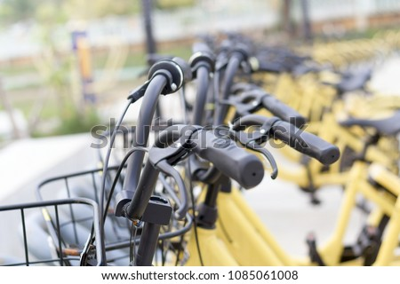 close up yellow bike #1085061008