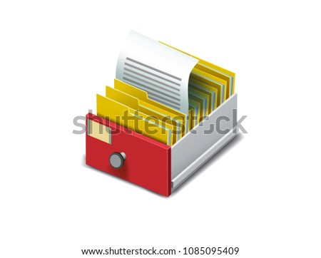 Archive. Folder in the archives. Drawer with folders for files. Isometric archive. Archive documents. Archival document. Database. Open card catalog. Vector illustration Eps10 file #1085095409