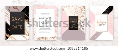 Gold, black, white marble template, artistic covers design, colorful texture, realistic cube, backgrounds. Trendy pattern, graphic poster, geometric brochure, cards. Vector illustration. #1085214185
