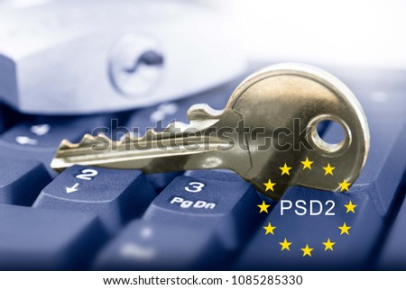 Payment Services Directive 2 (PSD2) - key and  keyboard