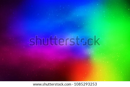 Dark Multicolor vector cover with astronomical stars. Glitter abstract illustration with colorful cosmic stars. Template for cosmic backgrounds. #1085293253