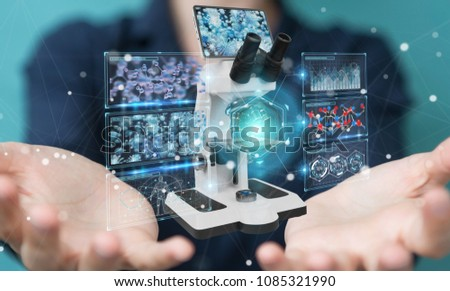 Businesswoman on blurred background using modern microscope with digital analysis 3D rendering #1085321990