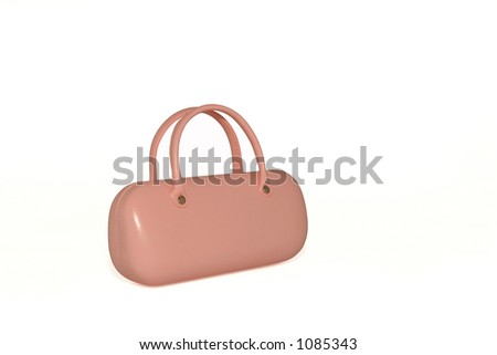 Pink leather glasses case against a white background. #1085343