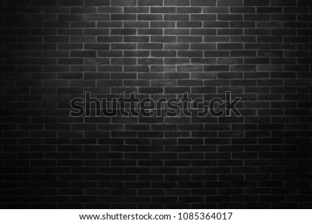 Black wall background The surface of the brick dark jagged. Abstract black wall background #1085364017