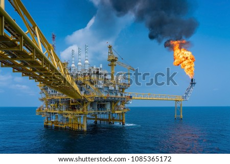 Offshore oil and gas construction platfor, Power and energy business industry. Royalty-Free Stock Photo #1085365172
