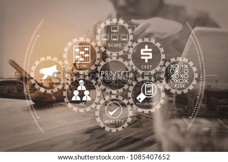 Project management diagram of cost, time, scope, human resources, risks, quality and communication with icons.Double exposure of success businessman using smart phone. #1085407652
